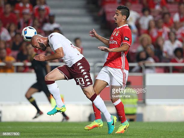 TorinoÕs defender Arlind Ajeti with SL BenficaÕs defender Andre Almeida in action during the Eusebio Cup match between SL Benfica and Torino at...