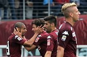 Torino's defender Matteo Darmian celebrates with his teammates after scoring during the Italian Serie A football match Torino vs Juventus on April 26...