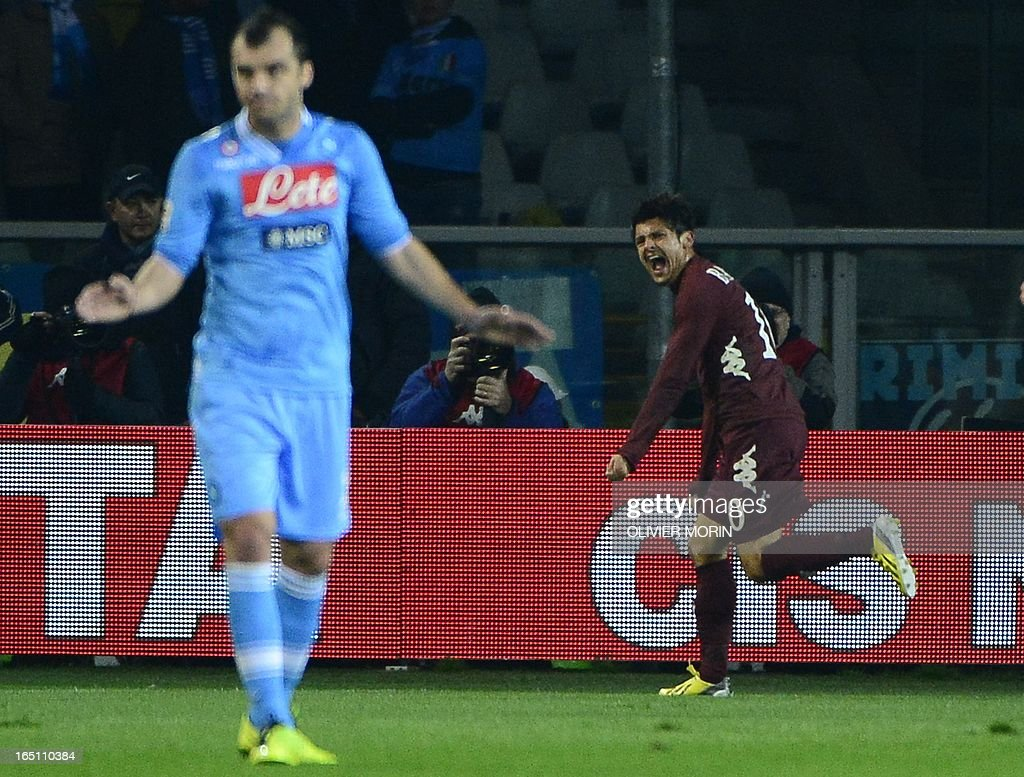 Torino's forward Alessandro Sgrigna (R) celebrates after scoring during the serie A football match between Turin and Naples, on March 30, 2013 in Turin, at the Olympic stadium .