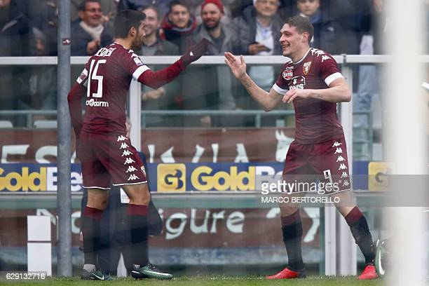 Torino's forward Andrea Belotti celebrates after scoring with Torino's midfielder from Italy Marco Benassi during the Italian Serie A football match...