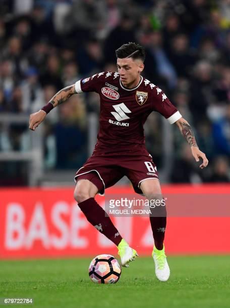 Torino's Italian midfielder Daniele Baselli controls the ball during the Italian Serie A football match Juventus vs Torino FC at the Juventus stadium...