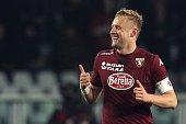 Torino's Polish defender Kamil Glik celebrates after scoring during the Italian Serie A football match Torino Vs Napoli on March 1 2015 at the...
