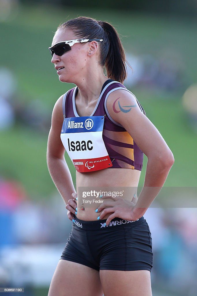 Torita Isaac of Queensland after running in the womens 400 metre sprint-Ambulant (8) during the IPC Athletics Grand Prix on February 6, 2016 in Canberra, Australia.