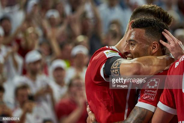 Torjubel bei bei den Torschuetzen Niklas Suele of Muenchen and Corentin Tolisso of Muenchen during the Bundesliga match between FC Bayern Muenchen...