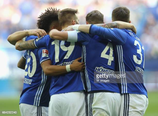 Torjubel Schalke vl Thilo Kehrer Guido Burgstaller Benedikt Hoewedes and Matija Nastasic controls the ball during the Bundesliga match between FC...