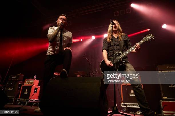 Torkjell Rod and Thomas Tofthagen of Audrey Horne perform as support to Danko Jones at Huxleys Neue Welt on March 22 2017 in Berlin Germany