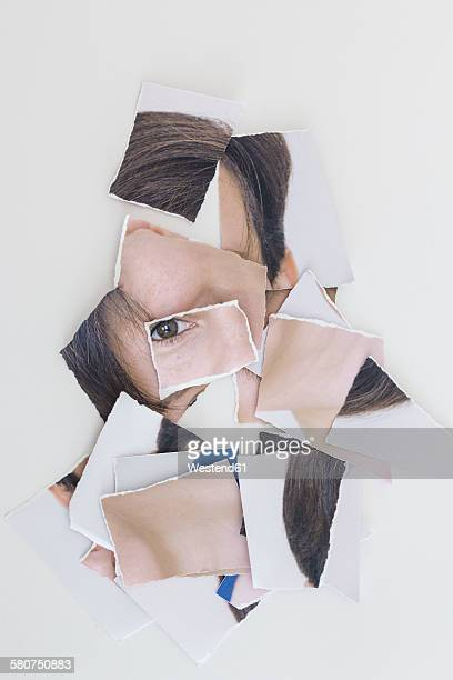 Torn apart image of person