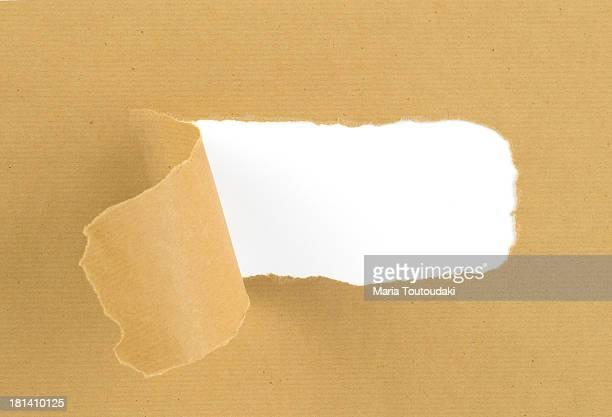 Torn, brown paper