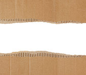 Torn Corrugated Cardboard Border isolated on white