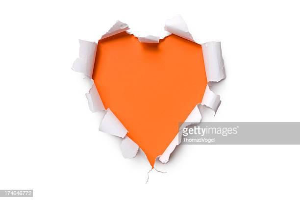 Torn paper heart shape  Orange Valentine's Day Hole Tearing Love