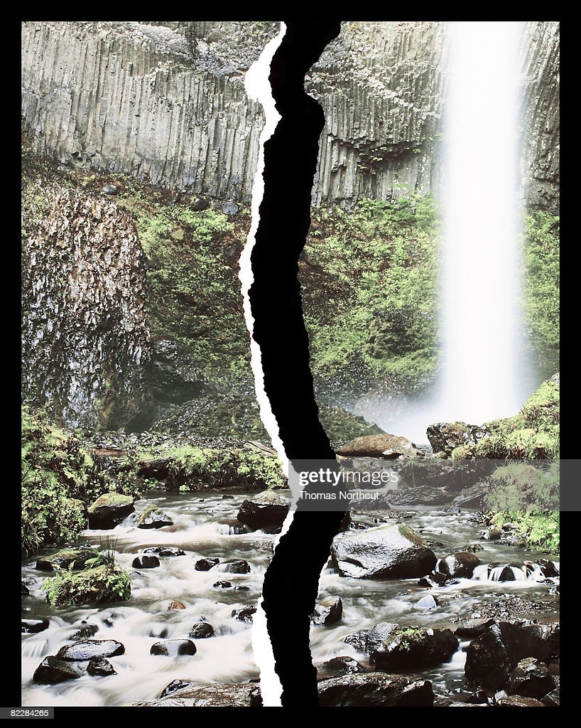 Torn photograph of waterfall  : Stock Photo