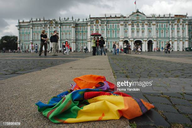 CONTENT] Torn rainbow flag lies on the ground after the ending of a picket against homophobia on Russia Paratroopers Day in historical center of St...