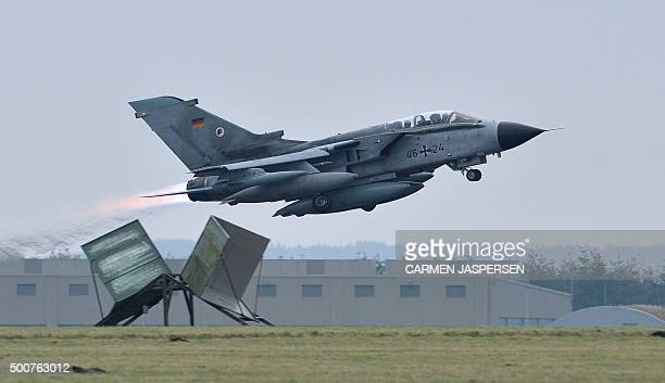 A Tornado aircraft takes off from the German army Bundeswehr airbase in Jagel northern Germany December 10 2015 Germany deploys two Tornado...