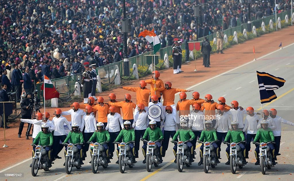 Tornado Bikers, under Major SS Rathore, displayed their skills on the motorcycle during the final full dress rehearsal for the Republic Day parade in New Delhi on Wednesday, January 23, 2013.