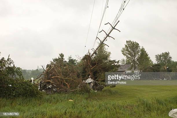 Tornado Damage with Downed Power Line