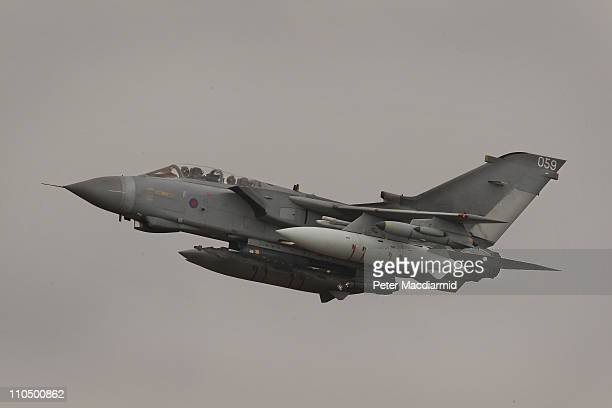 Tornado GR4 aircraft takes off from Royal Air Force Marham on March 21 2011 in England The Pentagon says that United States and United Kingdom...