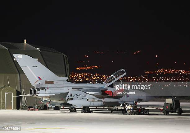 Tornado GR4 at RAF stationed at Akrotiri base during a visit by British Prime Minister David Cameron on October 2 2014 in Akrotiri Cyprus The Prime...