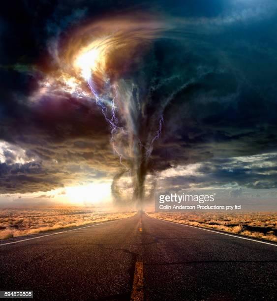 Tornado on remote desert road