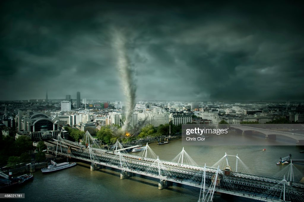 Tornado rolling through London, United Kingdom