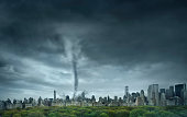 Tornado rolling through New York, New York, United States