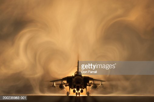 Tornado war plane, backlit