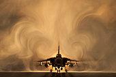 Tornado war plane, backlit