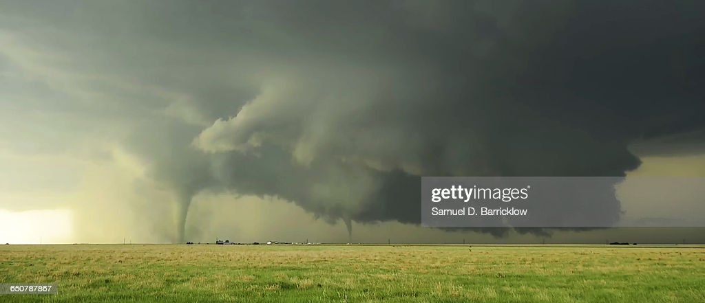 Tornadoes south of Dodge City, Kansas : Stock Photo