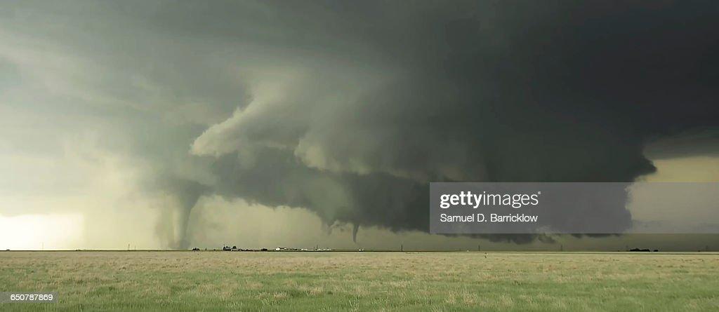 Tornadoes south of Dodge City, Kansas : Stock Photo
