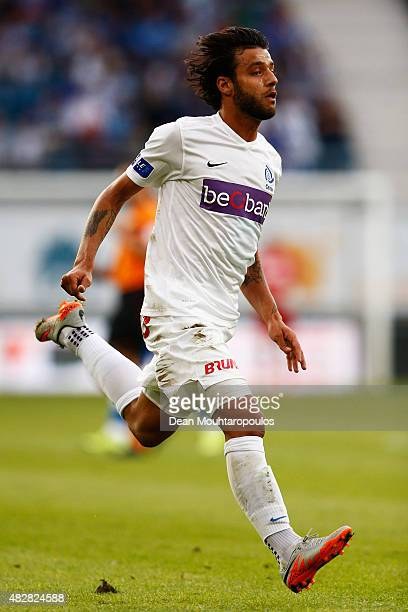 Tornike Okriashvili of Genk in action during the Jupiler League match between KAA Gent and KRC Genk held at the Ghelamco Arena on July 31 2015 in...