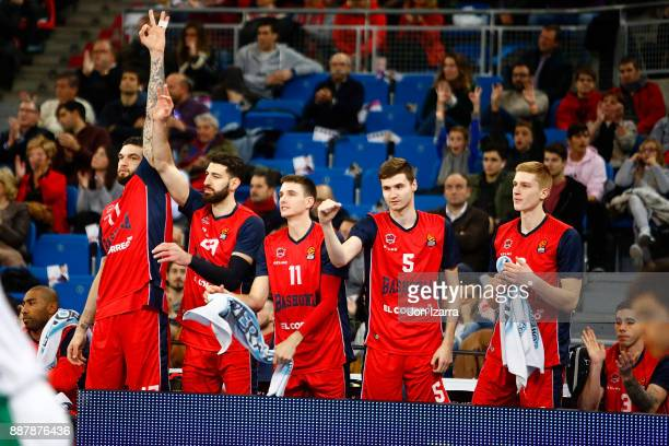 Tornike Shengelia #23 of Baskonia Vitoria Gasteiz celebrates during the 2017/2018 Turkish Airlines EuroLeague Regular Season Round 11 game between...