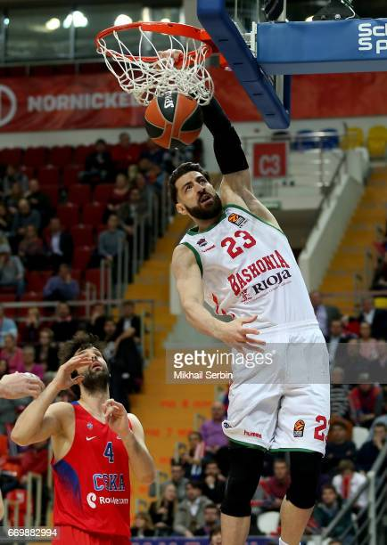 Tornike Shengelia #23 of Baskonia Vitoria Gasteiz in action during the 2016/2017 Turkish Airlines EuroLeague Playoffs leg 1 game between CSKA Moscow...