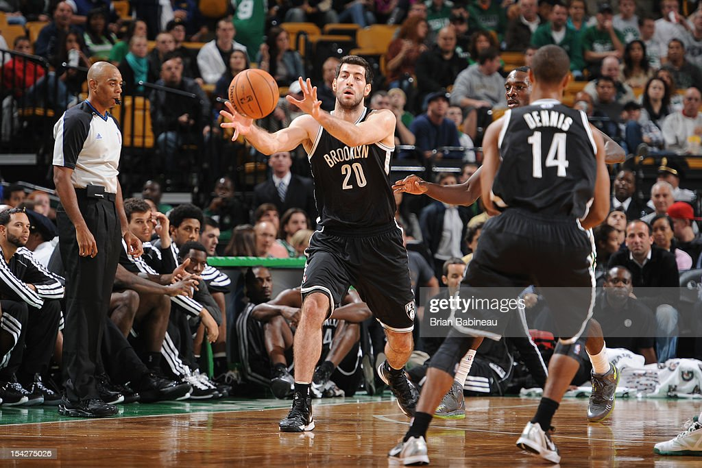 Tornike Shengelia #20 of the Brooklyn Nets receives a pass against the Boston Celtics on October 16, 2012 at the TD Garden in Boston, Massachusetts.