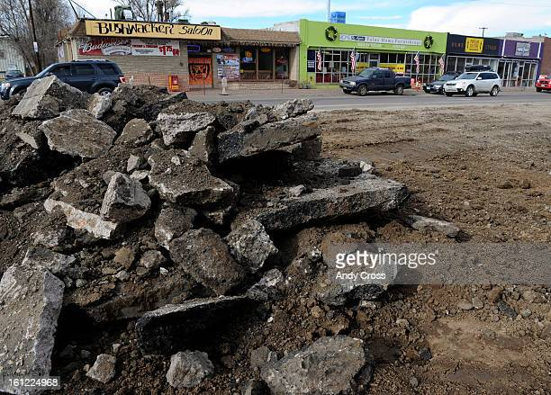 Torn up asphalt and dirt along the east side of south Broadway under  re construction near Asbury Ave  Saturday morning in front of Home   Again  furniture. Thom Persson Stock Photos and Pictures   Getty Images