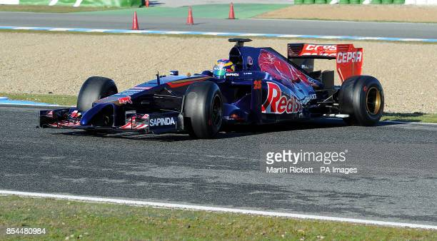 Toro Rosso driver JeanEric Vergne loses control of his car and skids sideways during the 2014 Formula One Testing at the Circuito de Jerez Jerez Spain