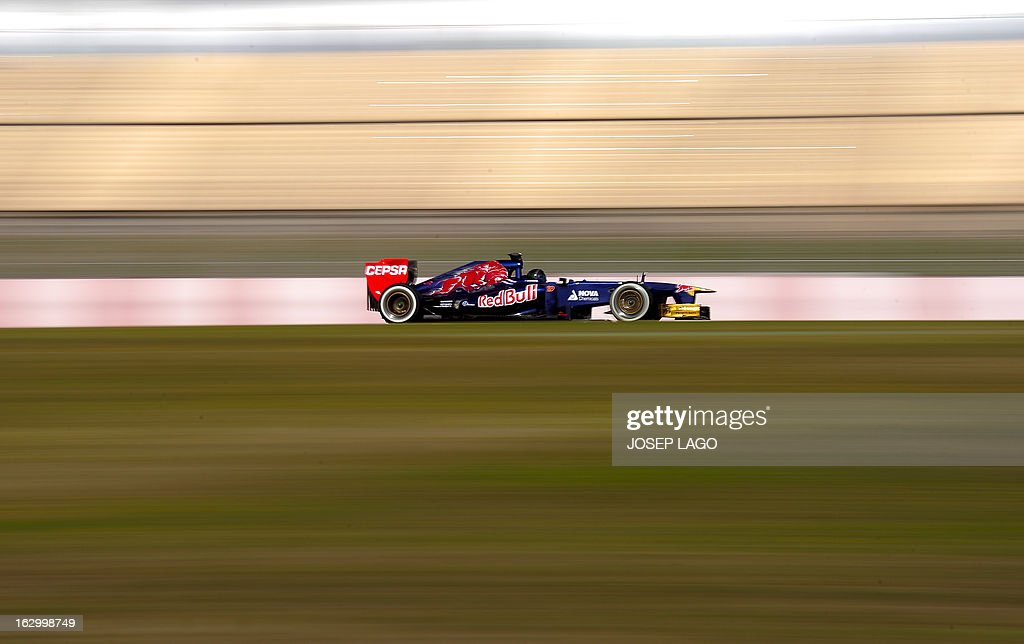 Toro Rosso's Australian driver Daniel Ricciardo drives during the Formula One test days at Catalunya's racetrack in Montmelo, near Barcelona, on March 3, 2013. .