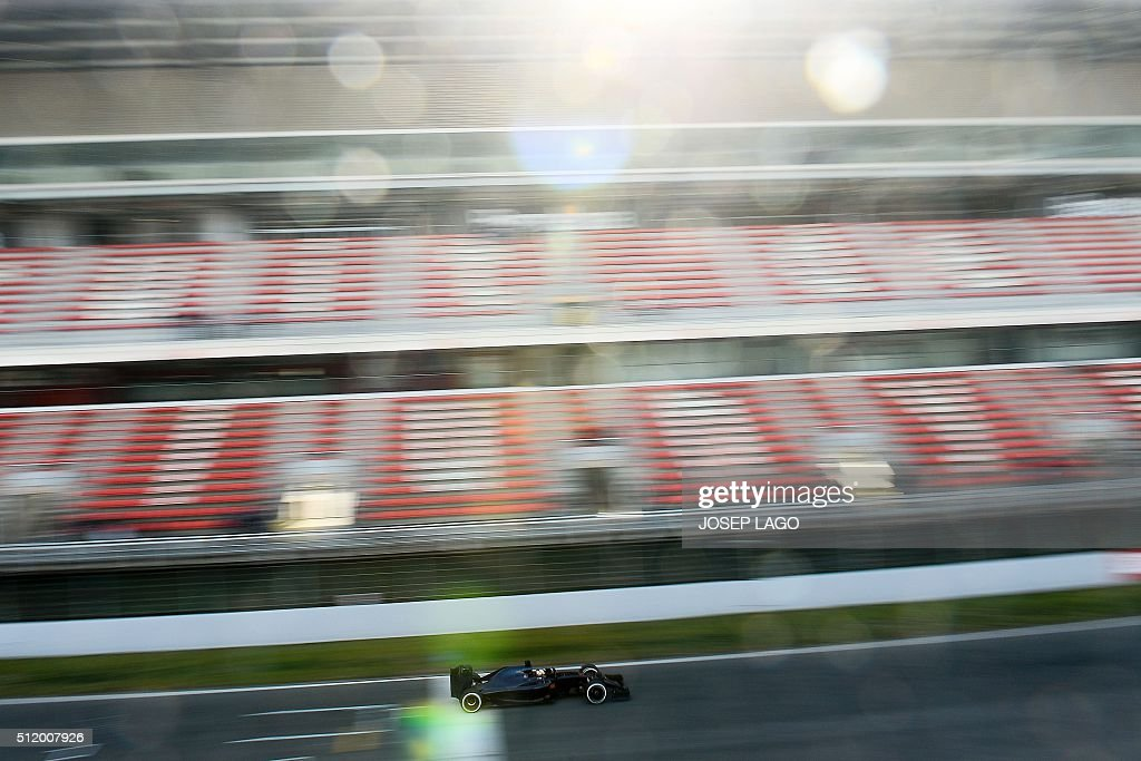 TOPSHOT Toro Rosso's Spanish driver Carlos Sainz Jr drives at the Circuit de Catalunya on February 24 2016 in Montmelo on the outskirts of Barcelona...