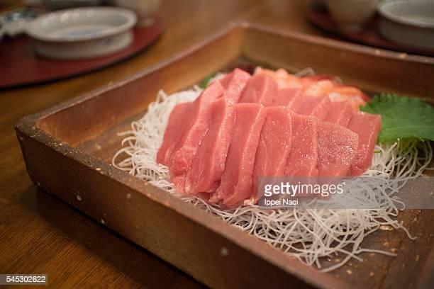 Toro sashimi, fatty meat of Japanese Bluefin tuna
