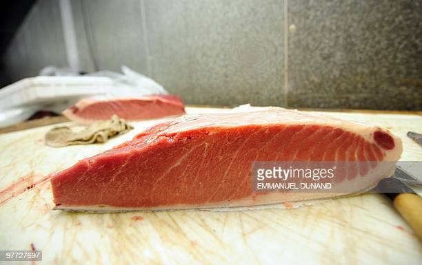 'Toro' the most expensive part of a bluefin tuna's belly sits on a counter after being prepared in order to provide it to New York's top sushi...