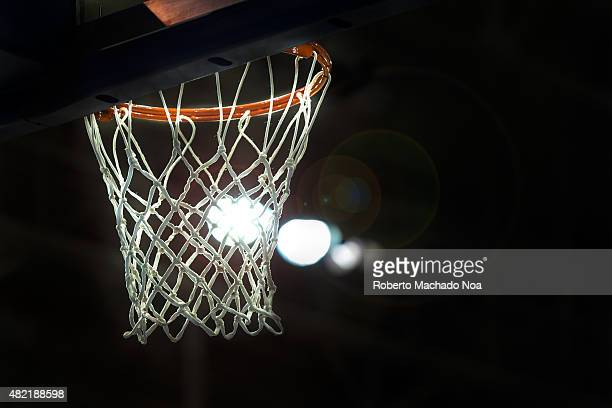 CENTRE TORONTO ONTARIO CANADA Toronto 2015 Pan Am or Pan American Games women basketball Close up of the basketball hoop in a strong backlight