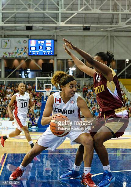 CENTRE TORONTO ONTARIO CANADA Toronto 2015 Pan Am or Pan American Games women basketball Marie Miah Langlois from team Canada enters aggressively to...