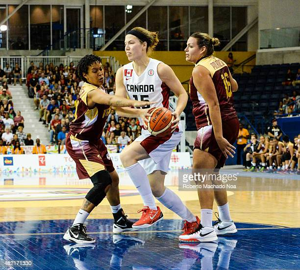 CENTRE TORONTO ONTARIO CANADA Toronto 2015 Pan Am or Pan American Games women basketball Michelle Plouffe from team Canada enters the attack zone...