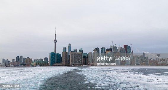 Toronto and Lake Ontario in the Winter : Stock Photo
