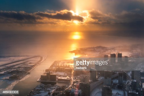 Toronto and Lake Ontario winter sunset : Stock Photo