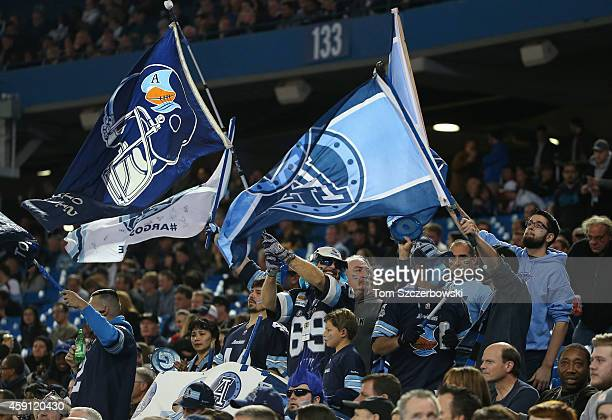 Toronto Argonauts fans celebrate a touchdown during CFL game action against the Ottawa Redblacks on November 7 2014 at Rogers Centre in Toronto...