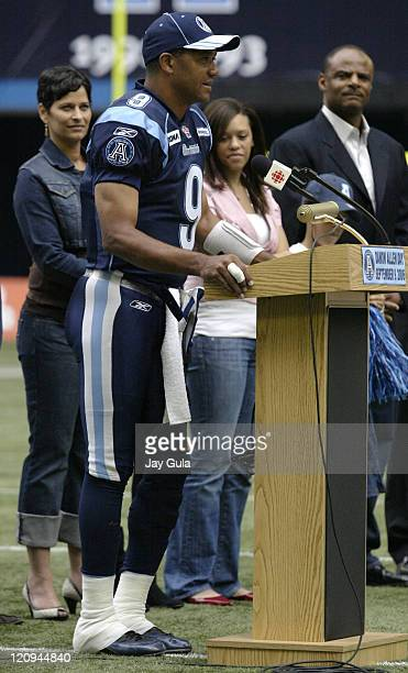 Toronto Argonauts honored QB Damon Allen before today's game vs the Hamilton TigerCats for becoming professional football's alltime leading passer...