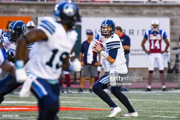 Toronto Argonauts quarterback Jeff Mathews looking at his target Toronto Argonauts slotback SJ Green during the Toronto Argonauts versus the Montreal...