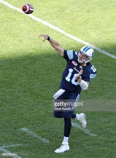 TORONTO ON AUGUST 20 Toronto Argonauts quarterback Logan Kilgore throws as the Toronto Argonauts play the Edmonton Eskimos at BMO Field in Toronto...