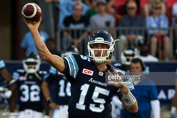 Toronto Argonauts quarterback Ricky Ray throws the ball during the first half of their Canadian Football League game against the Ottawa Redblacks at...