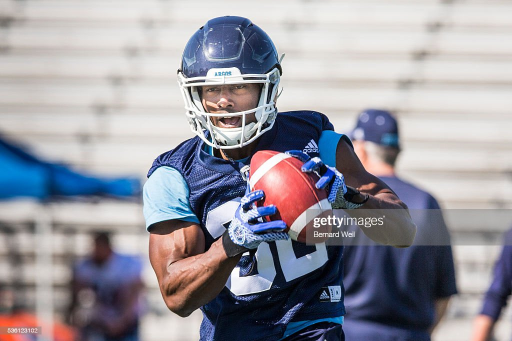GUELPH, ON - MAY 31 - Toronto Argonauts slotback Andre Durie, from York University, makes a catch during practice at Guelph University. May 31, 2016.