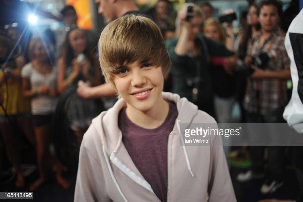 Justin Bieber poses at the Much Music Environment August 7th 2009 Bieber a 15yearold from Stratford recently hit it big after singing on YouTube...